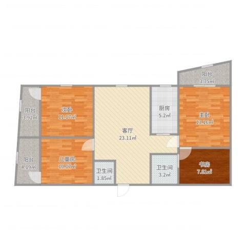 协诚中心大厦公寓4室1厅2卫1厨109.00㎡户型图
