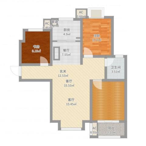 北斗星城东区・御府2室1厅1卫1厨96.00㎡户型图