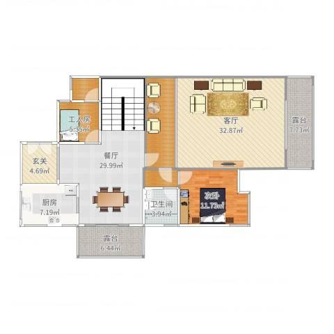 锦翠苑26栋一楼1室2厅1卫1厨153.00㎡户型图