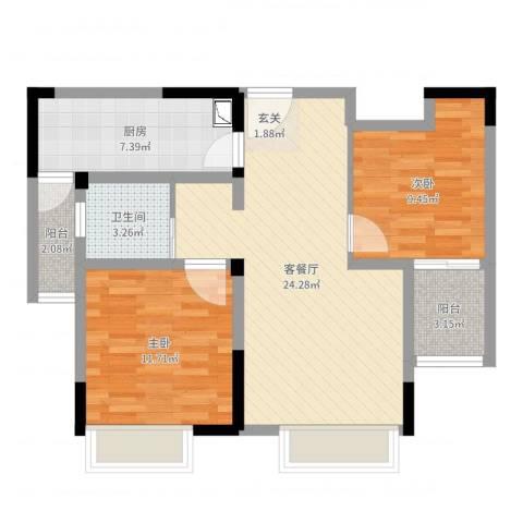 时代广场二期2室2厅1卫1厨77.00㎡户型图