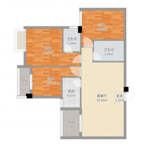 海滨壹号3室2厅2卫1厨105.00㎡户型图