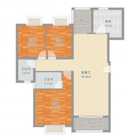 广场花园3室2厅2卫1厨129.00㎡户型图