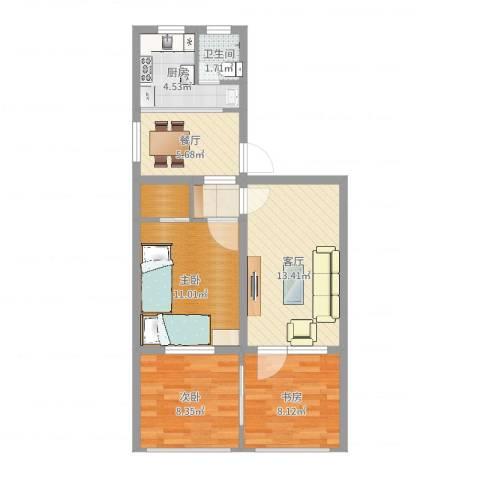 南沙滩社区3室2厅1卫1厨70.00㎡户型图