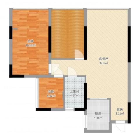 金科公园王府2室2厅1卫1厨94.00㎡户型图