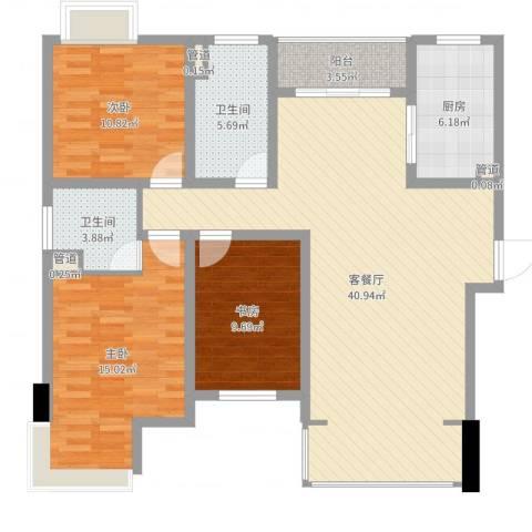 经纬城市绿洲四期泓汇地标3室2厅2卫1厨120.00㎡户型图