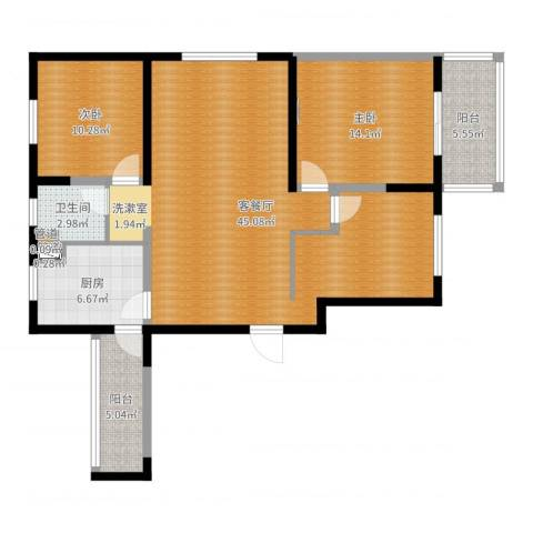 朗诗绿色街区2室2厅1卫1厨113.00㎡户型图