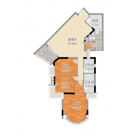 利雅湾3室2厅3卫1厨140.00㎡户型图