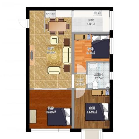 京江华府3室1厅1卫1厨84.00㎡户型图