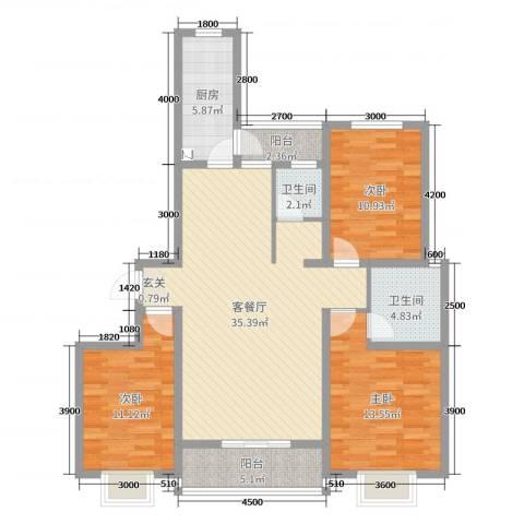 阳光水岸3室2厅2卫1厨140.00㎡户型图