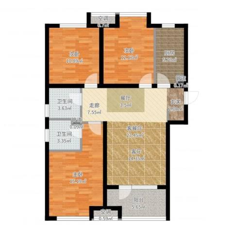 荣盛・白鹭岛3室2厅2卫1厨107.00㎡户型图