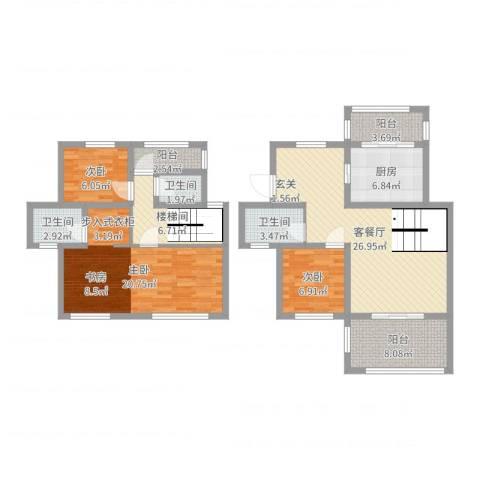 中南山海湾3室2厅3卫1厨121.00㎡户型图