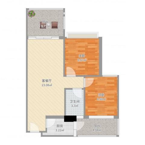 活力康城2室2厅1卫1厨74.00㎡户型图