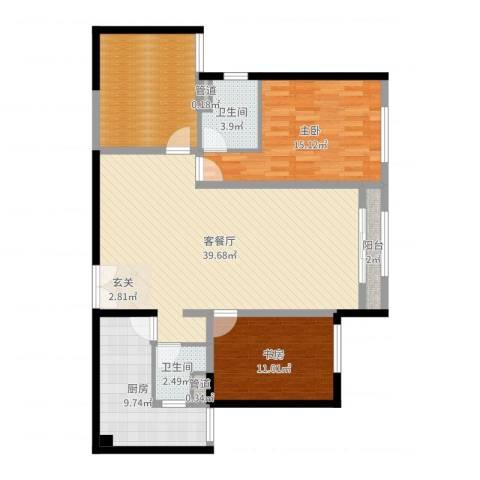 巨华世纪城二期和谐园2室2厅2卫1厨121.00㎡户型图