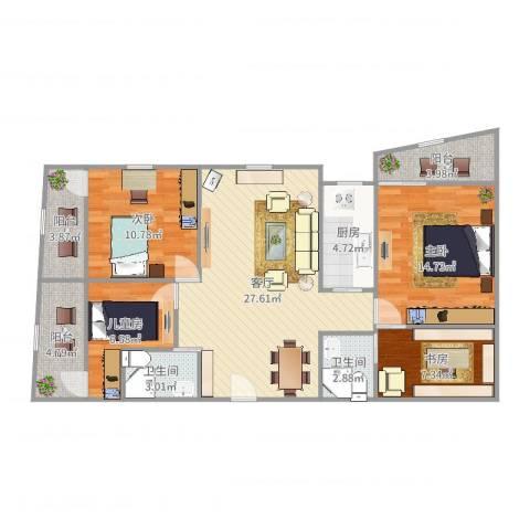 协诚中心大厦公寓4室1厅2卫1厨113.00㎡户型图