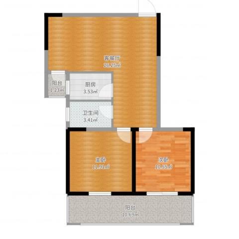 构峰源公馆2室2厅1卫1厨84.00㎡户型图