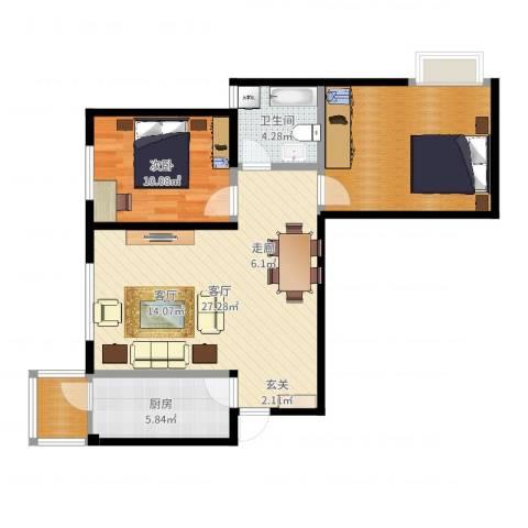 阳光绿岛1室1厅1卫1厨80.00㎡户型图