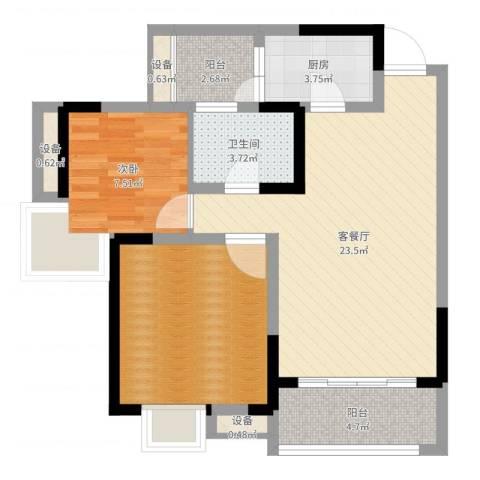 新城绿园1室2厅1卫1厨75.00㎡户型图