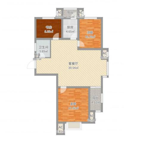 儒苑佳园3室2厅1卫1厨116.00㎡户型图