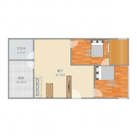 金地社区2室1厅1卫1厨96.00㎡户型图