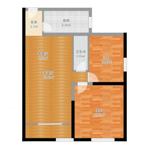 百欣花园2室2厅1卫1厨87.00㎡户型图