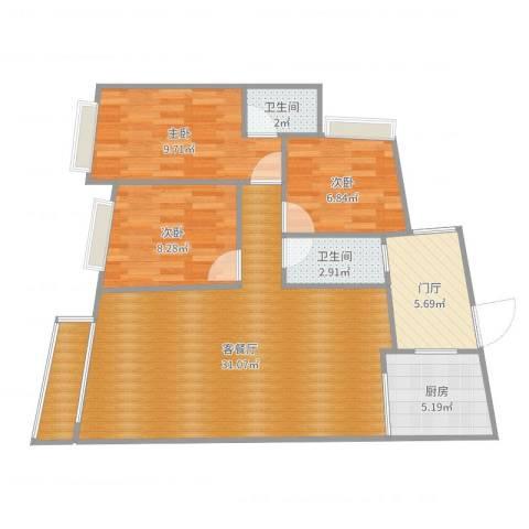 山口小区3室2厅2卫1厨93.00㎡户型图