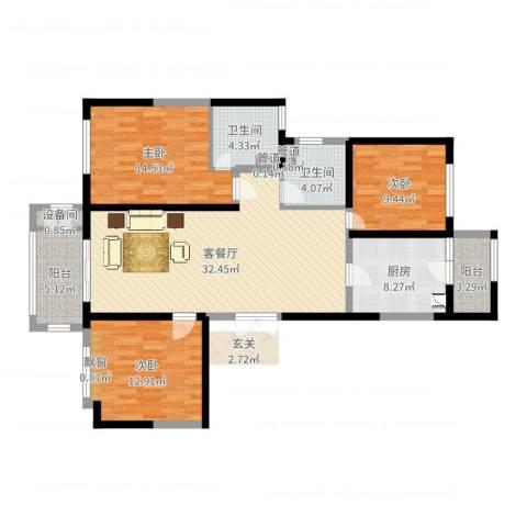 华邦国际3室2厅2卫1厨119.00㎡户型图