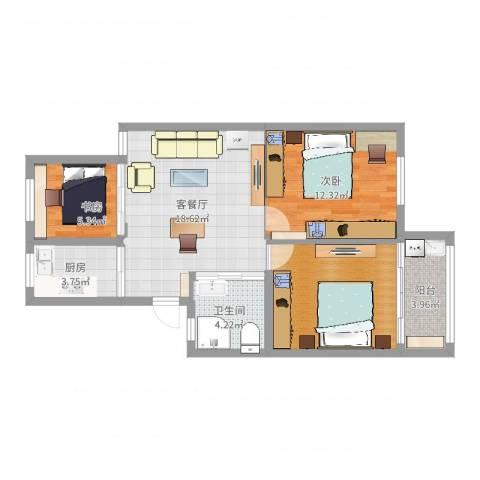 泰河康园2室2厅1卫1厨75.00㎡户型图