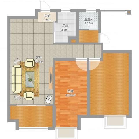 海亮悦府1室1厅1卫1厨89.00㎡户型图