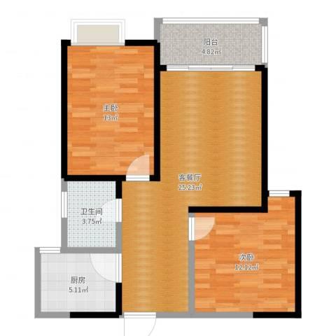 信运现代城2室2厅1卫1厨80.00㎡户型图