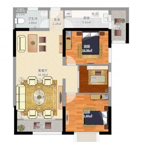 金沙城市广场3室2厅1卫1厨99.00㎡户型图