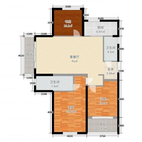 滨江一号3室2厅2卫1厨143.00㎡户型图
