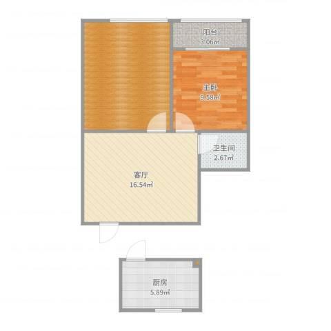 流水东苑1室1厅1卫1厨66.00㎡户型图