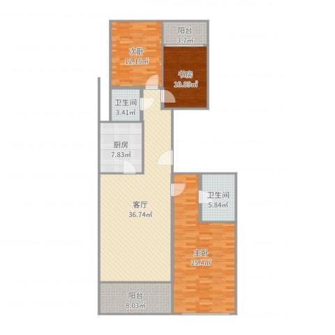 柏悦公馆3室1厅2卫1厨141.00㎡户型图