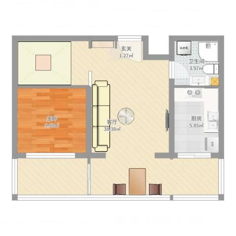 龙腾花园1室1厅1卫1厨72.00㎡户型图