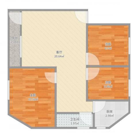 金侨花园3栋40013室1厅1卫1厨63.00㎡户型图