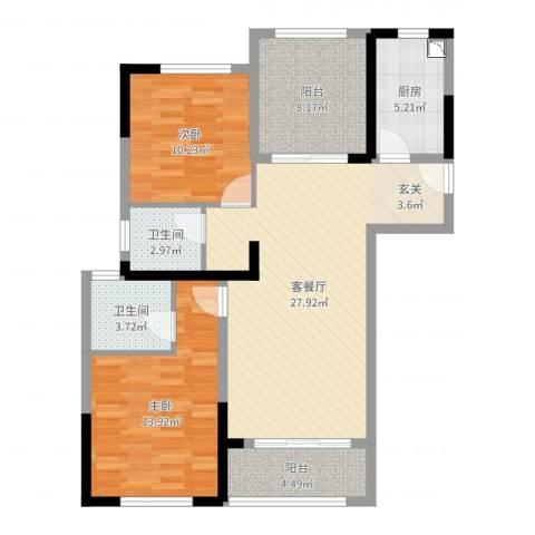 绿地新都会2室2厅2卫1厨96.00㎡户型图