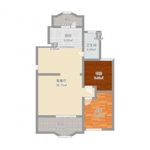 虹康花苑二期2室2厅1卫1厨107.00㎡户型图