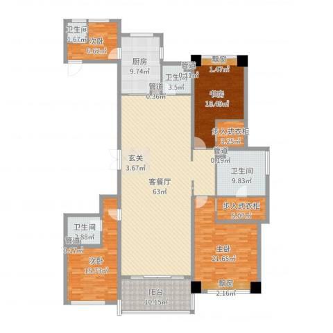 长沙开福万达广场4室2厅4卫1厨214.00㎡户型图