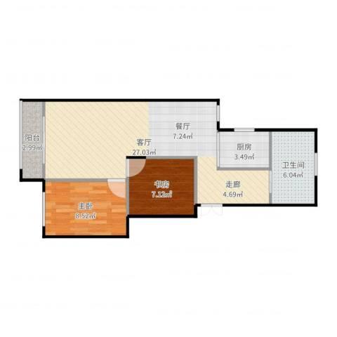 车站新村2室1厅1卫1厨69.00㎡户型图