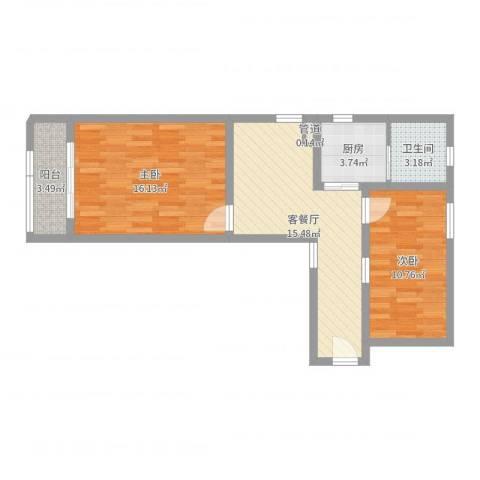 彭浦新村2室2厅1卫1厨66.00㎡户型图