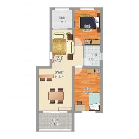 格兰小镇2室2厅1卫1厨71.00㎡户型图