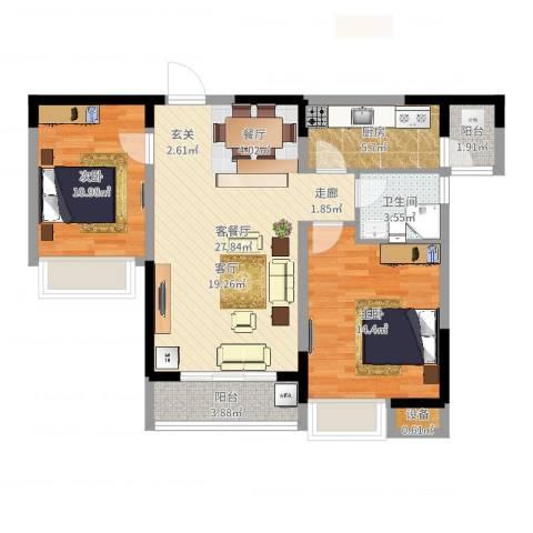 中州国际花园2室2厅1卫1厨86.00㎡户型图