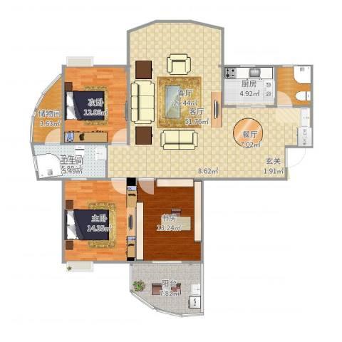 东城国际3室1厅1卫1厨146.00㎡户型图