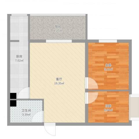 来福花园2室1厅1卫1厨64.00㎡户型图