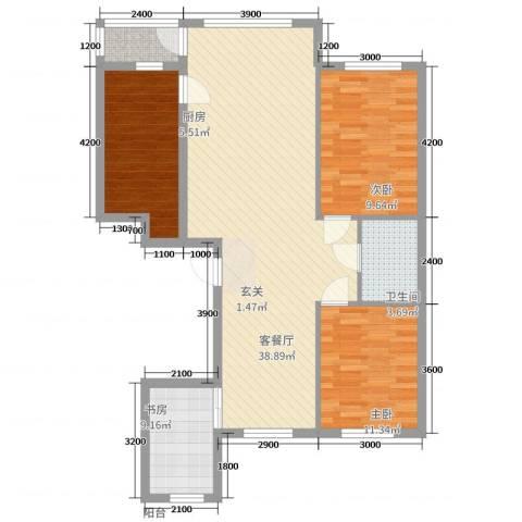 城润万家3室2厅1卫1厨114.00㎡户型图