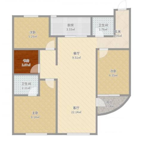 太湖新城4室1厅2卫1厨67.00㎡户型图