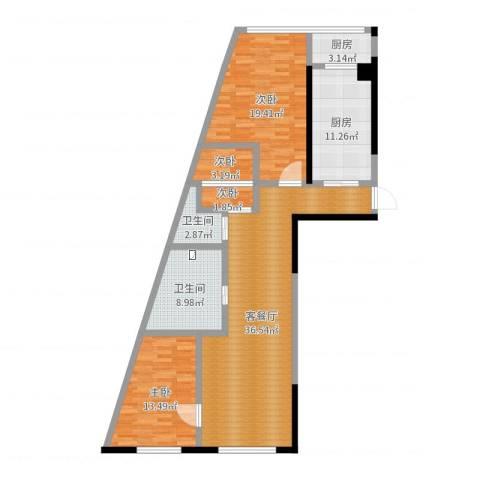丽水蓝天4室2厅2卫2厨126.00㎡户型图