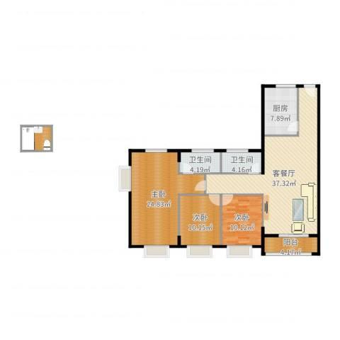 瑞康花园3室2厅2卫1厨133.00㎡户型图