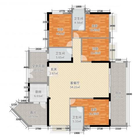 揭西希桥商贸城4室2厅3卫1厨207.00㎡户型图