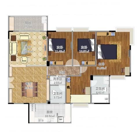 听涛雅苑3室2厅2卫1厨158.00㎡户型图